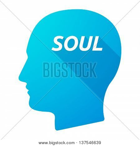 Isolated Long Shadow Male Head With    The Text Soul