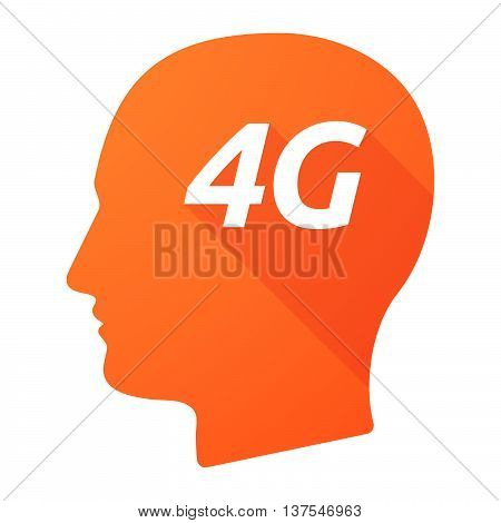 Isolated Long Shadow Male Head With    The Text 4G