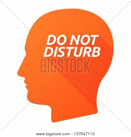 Isolated Long Shadow Male Head With    The Text Do Not Disturb