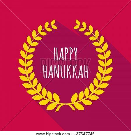 Long Shadow Laurel Wreath With    The Text Happy Hanukkah
