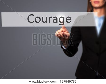 Courage - Successful Businesswoman Making Use Of Innovative Technologies And Finger Pressing Button.
