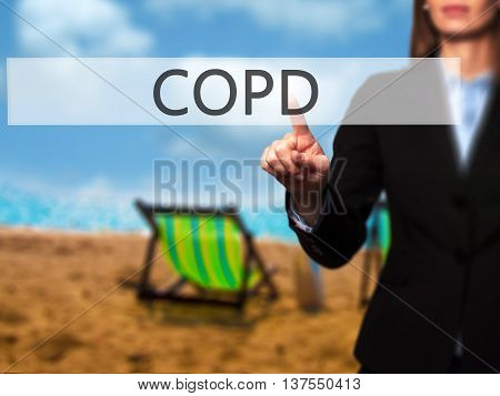 Copd - Successful Businesswoman Making Use Of Innovative Technologies And Finger Pressing Button.