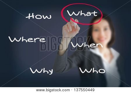 Beautiful businesswoman analyzing problem and find solution by writing question what where when why who and how
