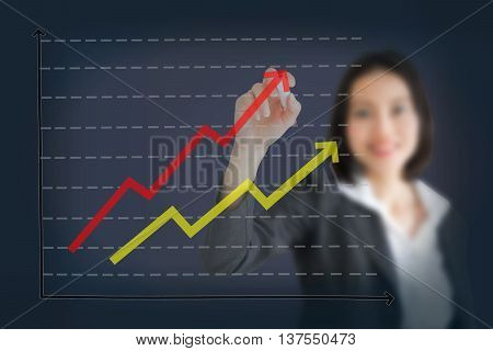 Business woman drawing graph showing profit growth on virtual screen. Asian businesswoman isolated on white background in suit.