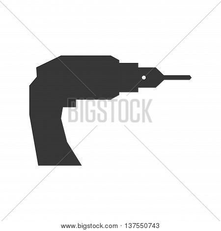 Constuction and repair concept represented by drill tool icon. isolated and flat illustration