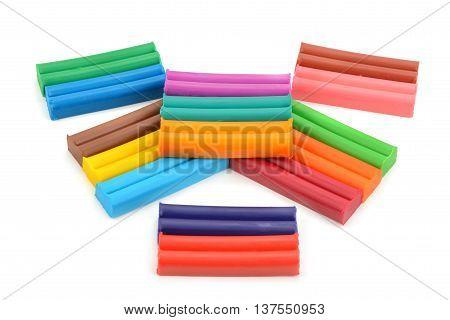 colorful plastiline set isolated on white background