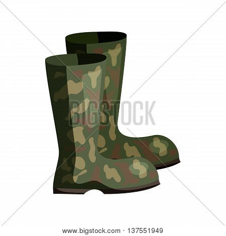 Hunting rubber boots icon in cartoon style isolated on white background. Shoes symbol