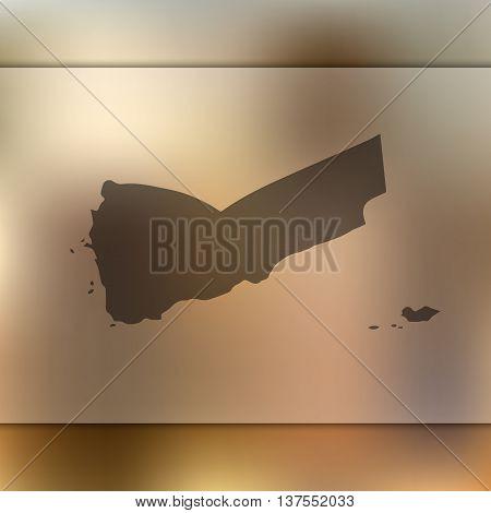 Yemen map on blurred background. Blurred background with silhouette of Yemen. Yemen. Yemen map.