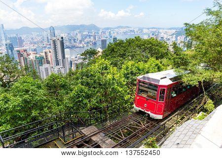 Tourist tram at the Peak