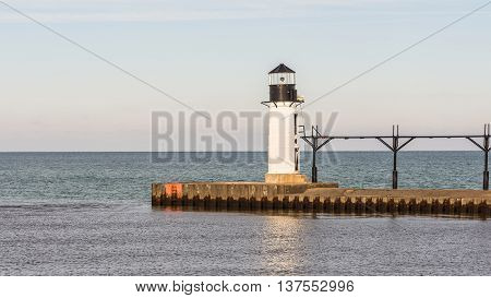 North Pier Outer Lighthouse and catwalk, in Lake Michigan, at St. Joseph / Benton Harbor, Michigan.