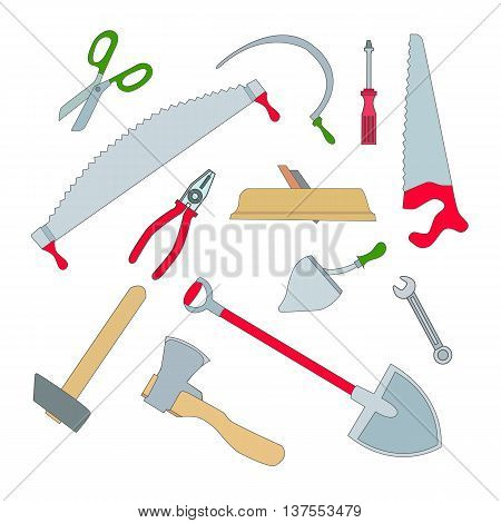 Vector set of isolated working tools: planer and an ax a hammer and a saw hacksaw and shovel screwdriver and pliers.