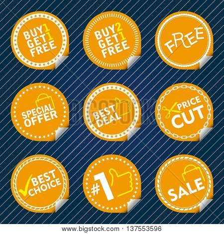 Yellow Sale Stickers with tab, different border style