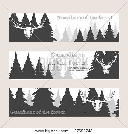 Horizontal banners with forest silhouette deer and elk. Vector illustration