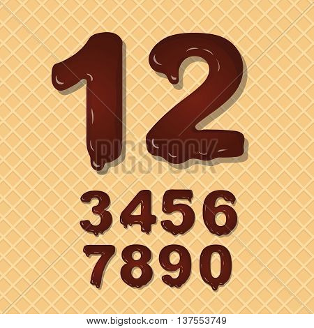 Set of Chocolate numbers set numeral font on wafer background