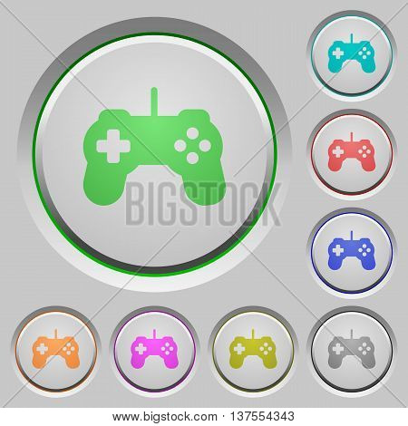 Set of color Game controller sunk push buttons.