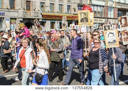 St. Petersburg, Russia - 9 May, Procession of people with their portraits, 9 May, 2016. Memory Action