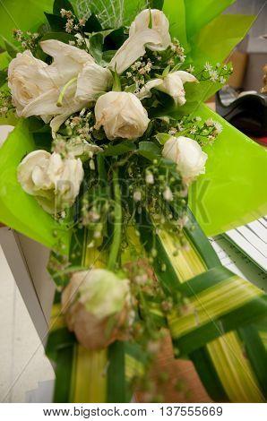 wedding bouquet with rose bush, clouse up