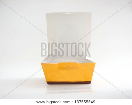 open yellow and white box on background