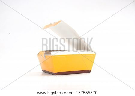 open yellow box on isolated on white background