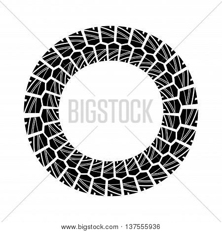 Tire  concept represented by wheel print icon. isolated and flat illustration