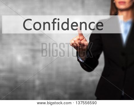 Confidence - Successful Businesswoman Making Use Of Innovative Technologies And Finger Pressing Butt