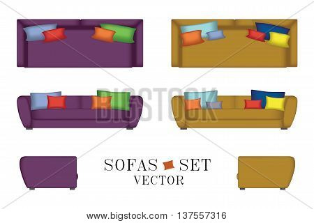 Sofas Set. Furniture for Your Interior Design. Vector Illustration. Top, Front and Side View. Pillows