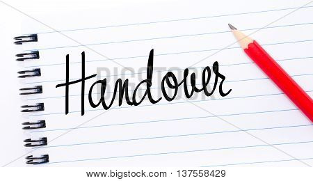 Handover Written On Notebook Page