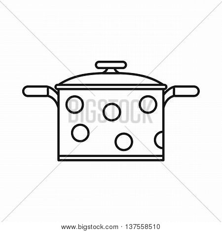 Saucepan icon in outline style isolated vector illustration