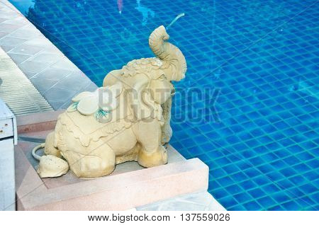Elephant Water Feature at a Thai Spa Resort Outdoor Swimming Pool
