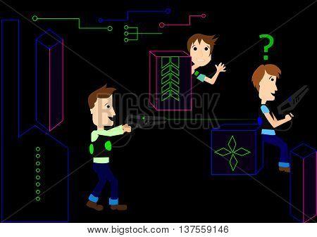 illustration of laser game laser tag vector