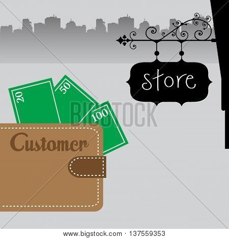 Colorful illustration with a brown wallet with money and the word customer written on the wallet
