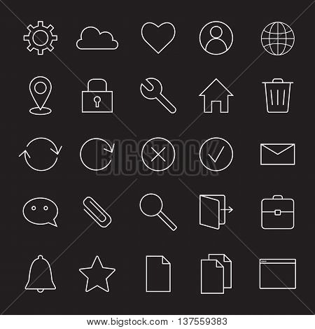 Basic interface line icons for web and mobile app.