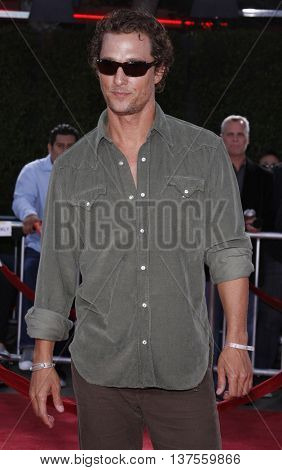 Matthew McConaughey at the Los Angeles premiere of 'Tropic Thunder' held at the Mann Village Theater in Westwood, USA on August 11, 2008.