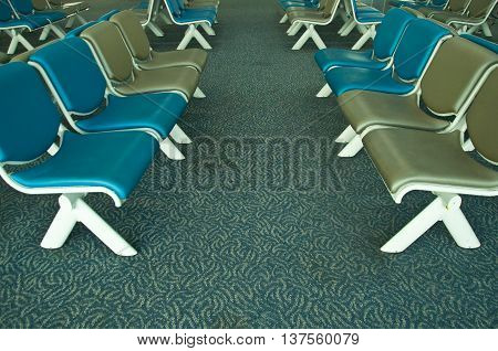 Airport Terminal Waiting Lounge, empty chair, blue chair