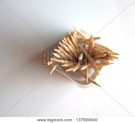 Many of Toothpick on white background, top view