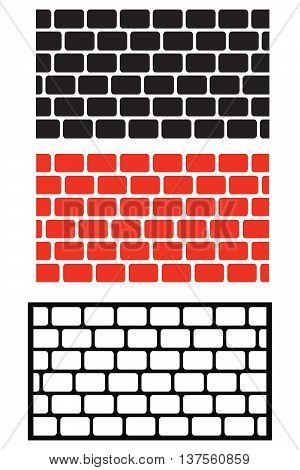 brick wall boundary computer icon symbol construction