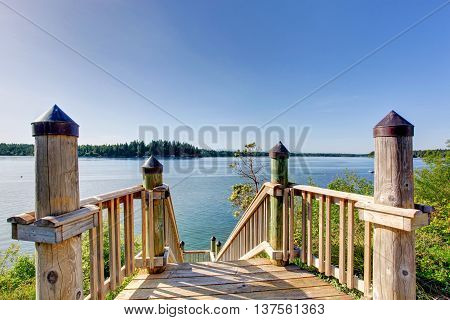 Awesome Water View From The Wooden Staircase With Railings.