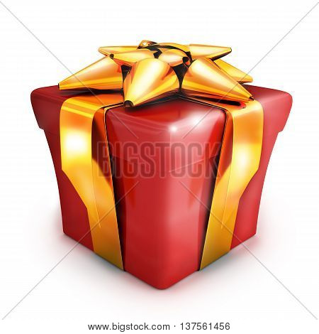Gift red and gold ribbon (done in 3d rendering)
