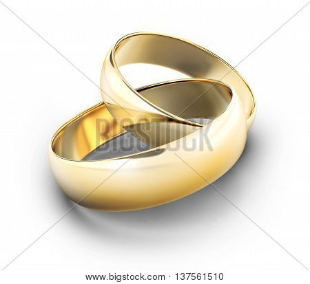Two wedding gold rings (done in 3d rendering)