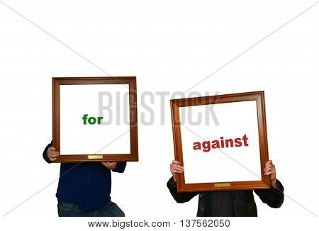 Two men with photo frames and labels