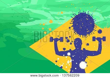 Young woman training with two dumbbells on the brazil flag colors background fithess motivation concept vector illustration