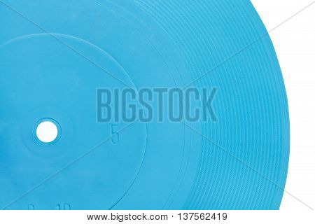 blue transparent flexible record disc close up isolated on white background
