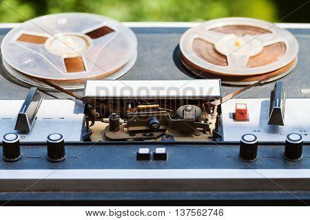 Vintage Reel-to-reel Recorder Outdoors