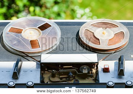 Old Reel-to-reel Recorder Outdoors