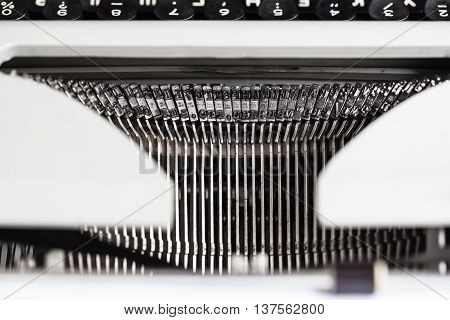 Typebars With Letter Characters In Old Typewriter