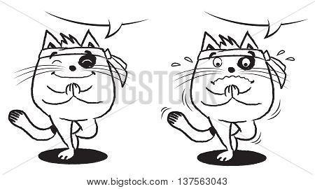 Illustration of black and white cat in Namaste position, vector