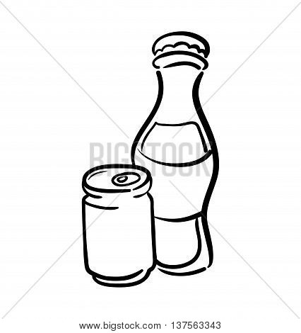 Soda and drink  concept represented by bottle and can icon. isolated and flat illustration