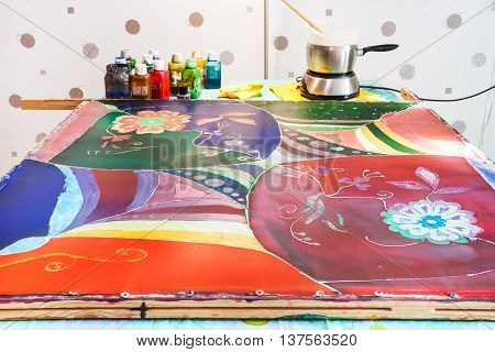 Silk Fabric With Final Fourth Layer Of Paints
