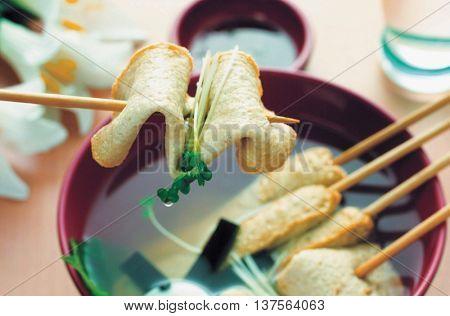 Korea food fish cake skewer
