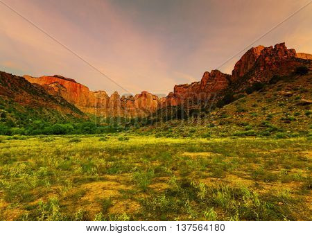Sunrise scene over the Towers of the Virgin in Zion Canyon National Park, Utah.